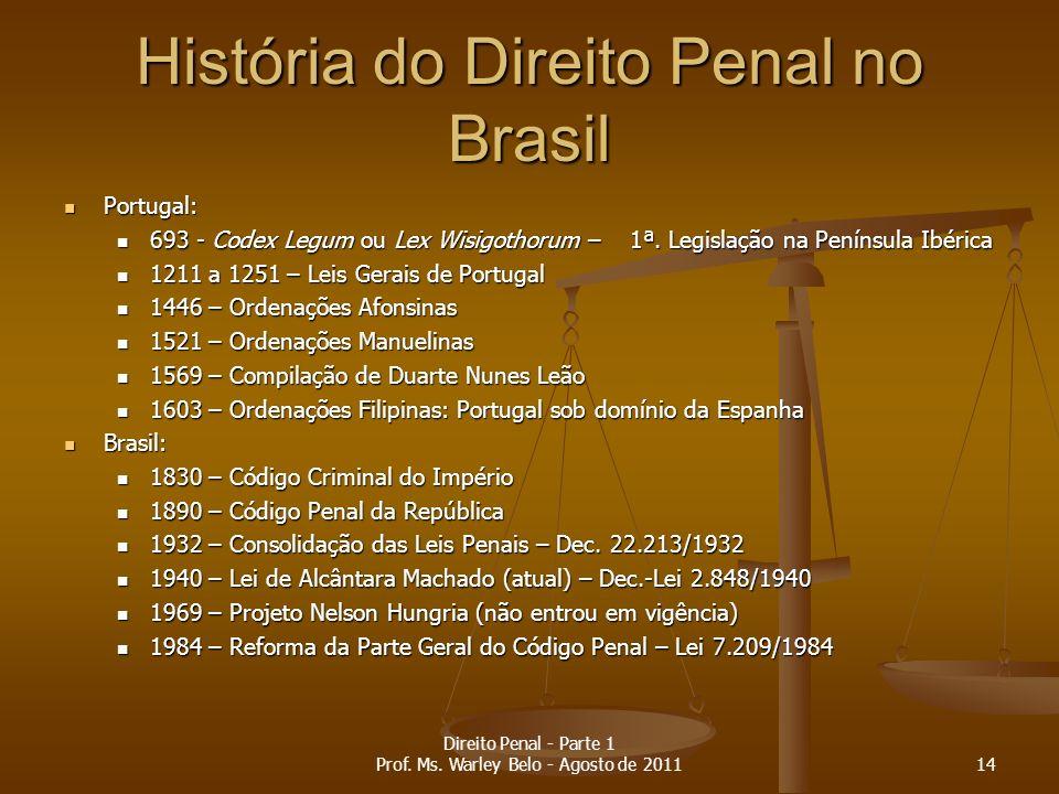 História do Direito Penal no Brasil Portugal: Portugal: 693 - Codex Legum ou Lex Wisigothorum – 1ª. Legislação na Península Ibérica 693 - Codex Legum