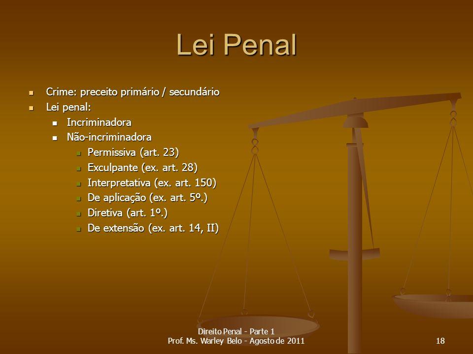 Lei Penal Crime: preceito primário / secundário Crime: preceito primário / secundário Lei penal: Lei penal: Incriminadora Incriminadora Não-incriminad
