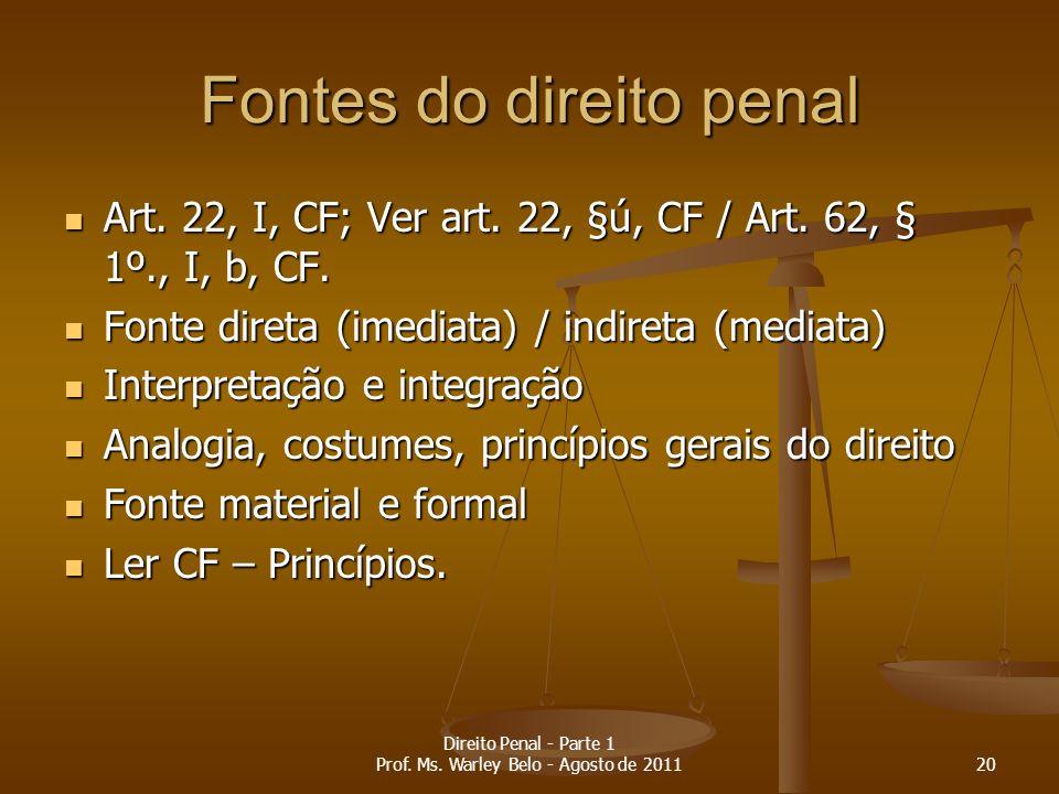 Fontes do direito penal Art. 22, I, CF; Ver art. 22, §ú, CF / Art. 62, § 1º., I, b, CF. Art. 22, I, CF; Ver art. 22, §ú, CF / Art. 62, § 1º., I, b, CF
