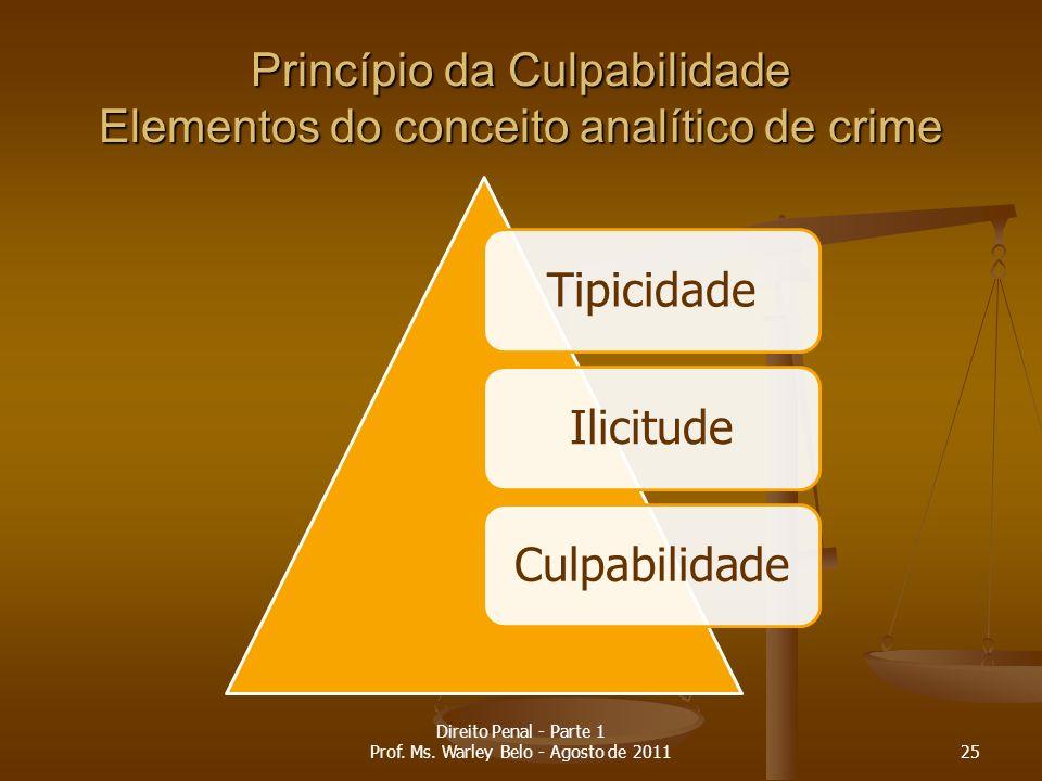 Princípio da Culpabilidade Elementos do conceito analítico de crime TipicidadeIlicitudeCulpabilidade 25 Direito Penal - Parte 1 Prof. Ms. Warley Belo
