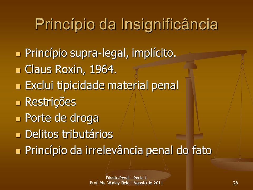 Princípio da Insignificância Princípio supra-legal, implícito. Princípio supra-legal, implícito. Claus Roxin, 1964. Claus Roxin, 1964. Exclui tipicida