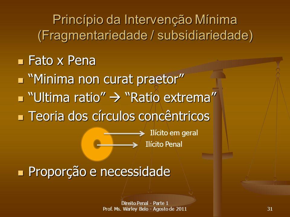 Princípio da Intervenção Mínima (Fragmentariedade / subsidiariedade) Fato x Pena Fato x Pena Minima non curat praetor Minima non curat praetor Ultima