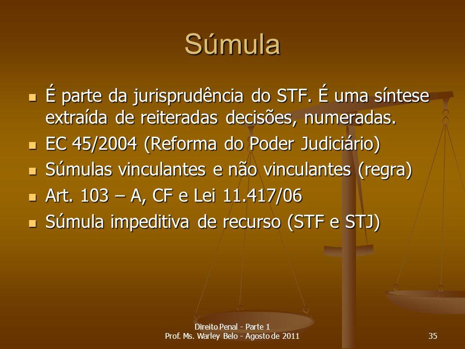 Súmula É parte da jurisprudência do STF. É uma síntese extraída de reiteradas decisões, numeradas. É parte da jurisprudência do STF. É uma síntese ext