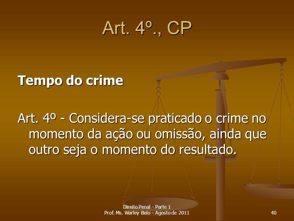 Art. 4º., CP Tempo do crime Art. 4º - Considera-se praticado o crime no momento da ação ou omissão, ainda que outro seja o momento do resultado. 40 Di