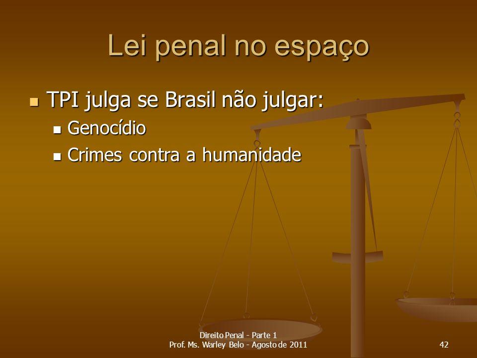 Lei penal no espaço TPI julga se Brasil não julgar: TPI julga se Brasil não julgar: Genocídio Genocídio Crimes contra a humanidade Crimes contra a hum