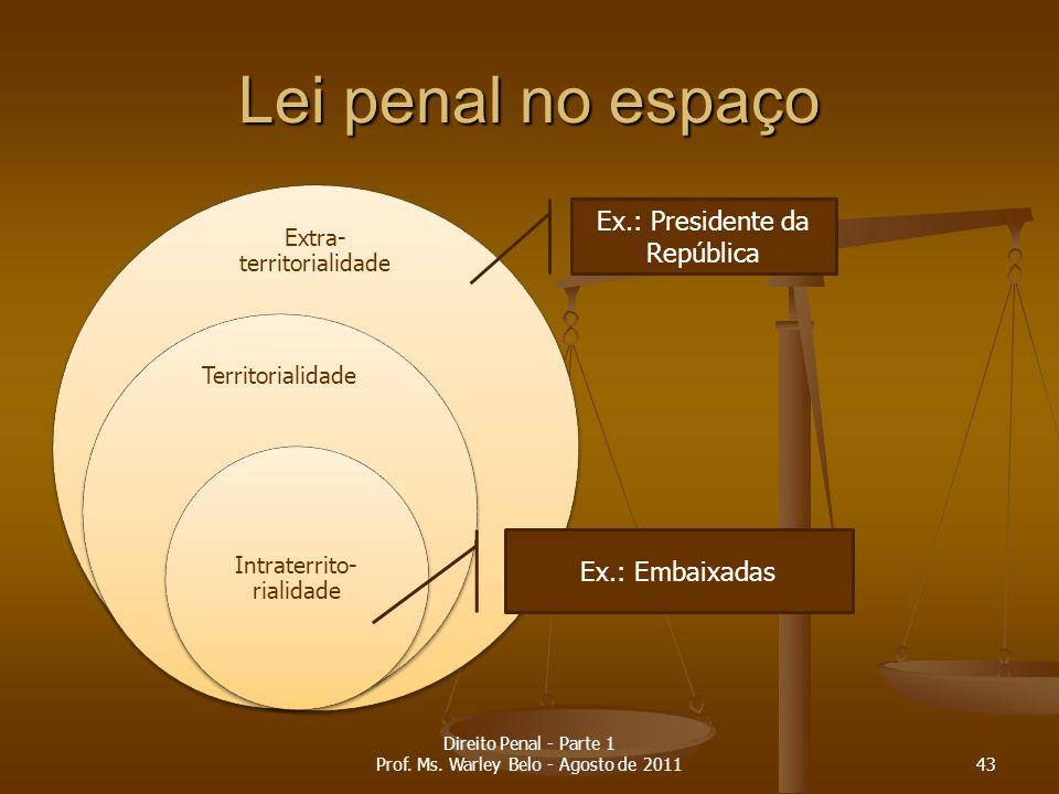 Lei penal no espaço Extra- territorialidade Territorialidade Intraterrito- rialidade Ex.: Presidente da República Ex.: Embaixadas 43 Direito Penal - P
