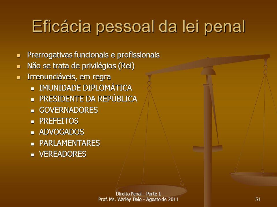 Eficácia pessoal da lei penal Prerrogativas funcionais e profissionais Prerrogativas funcionais e profissionais Não se trata de privilégios (Rei) Não