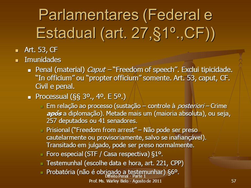 Parlamentares (Federal e Estadual (art. 27,§1º.,CF)) Art. 53, CF Art. 53, CF Imunidades Imunidades Penal (material) Caput – Freedom of speech. Exclui