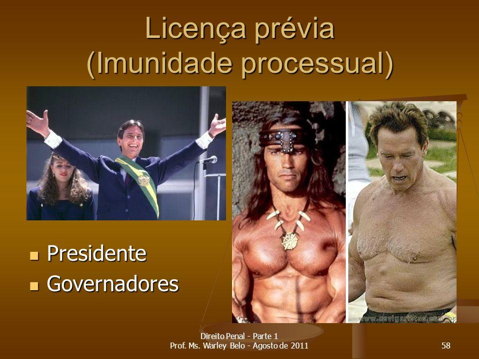 Licença prévia (Imunidade processual) Presidente Presidente Governadores Governadores 58 Direito Penal - Parte 1 Prof. Ms. Warley Belo - Agosto de 201