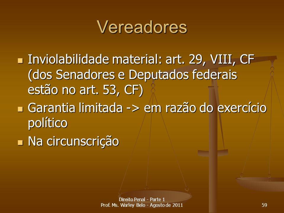 Vereadores Inviolabilidade material: art. 29, VIII, CF (dos Senadores e Deputados federais estão no art. 53, CF) Inviolabilidade material: art. 29, VI