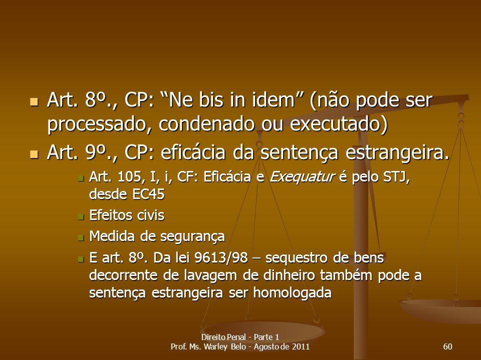 Art. 8º., CP: Ne bis in idem (não pode ser processado, condenado ou executado) Art. 8º., CP: Ne bis in idem (não pode ser processado, condenado ou exe