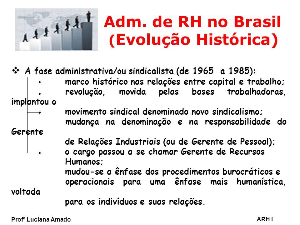 Profª Luciana Amado ARH I Adm. de RH no Brasil ( Evolução Histórica) A fase administrativa/ou sindicalista (de 1965 a 1985): marco histórico nas relaç