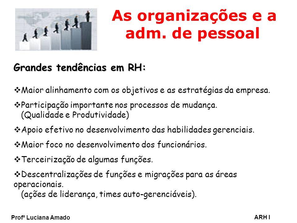 Profª Luciana Amado ARH I As organizações e a adm. de pessoal Grandes tendências em RH: Maior alinhamento com os objetivos e as estratégias da empresa