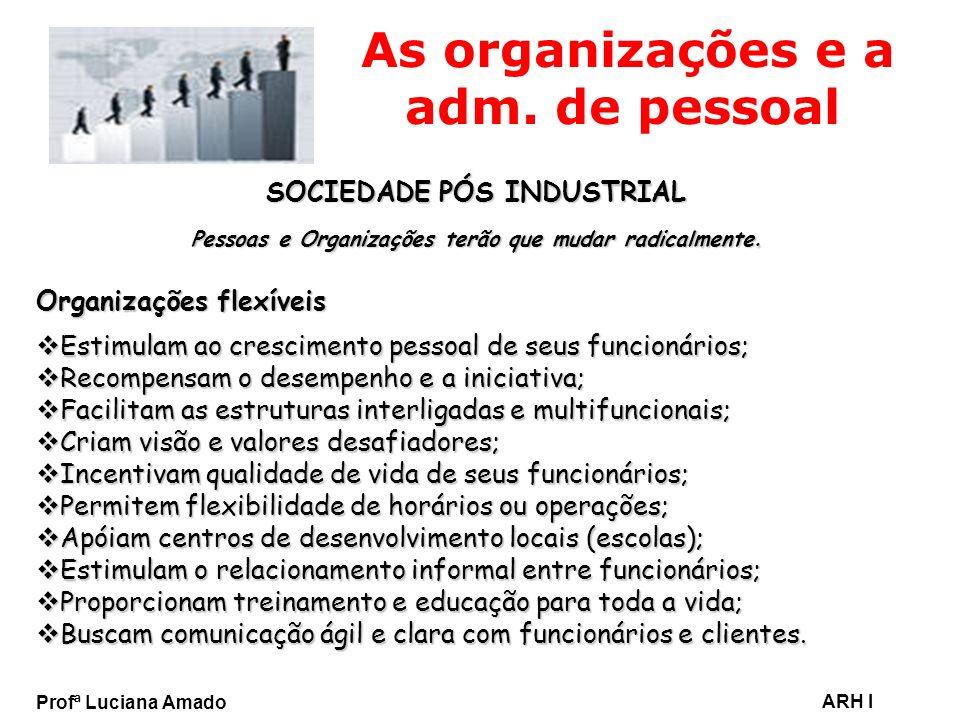 Profª Luciana Amado ARH I As organizações e a adm. de pessoal SOCIEDADE PÓS INDUSTRIAL Pessoas e Organizações terão que mudar radicalmente. Organizaçõ