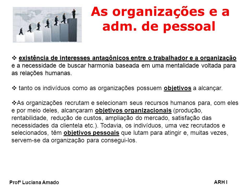 Profª Luciana Amado ARH I As organizações e a adm. de pessoal existência de interesses antagônicos entre o trabalhador e a organização e a necessidade