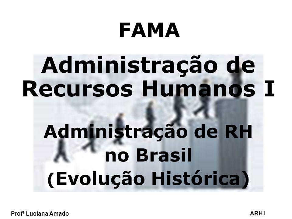 Profª Luciana Amado ARH I FAMA Administração de Recursos Humanos I Administração de RH no Brasil ( Evolução Histórica)