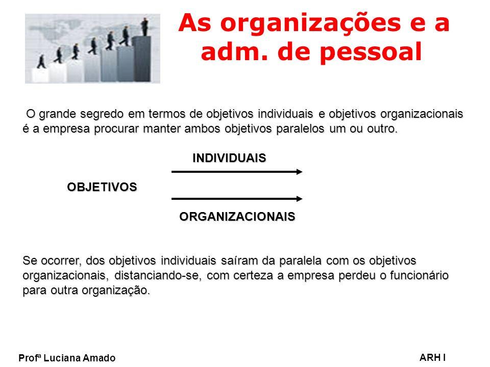 Profª Luciana Amado ARH I As organizações e a adm. de pessoal O grande segredo em termos de objetivos individuais e objetivos organizacionais é a empr
