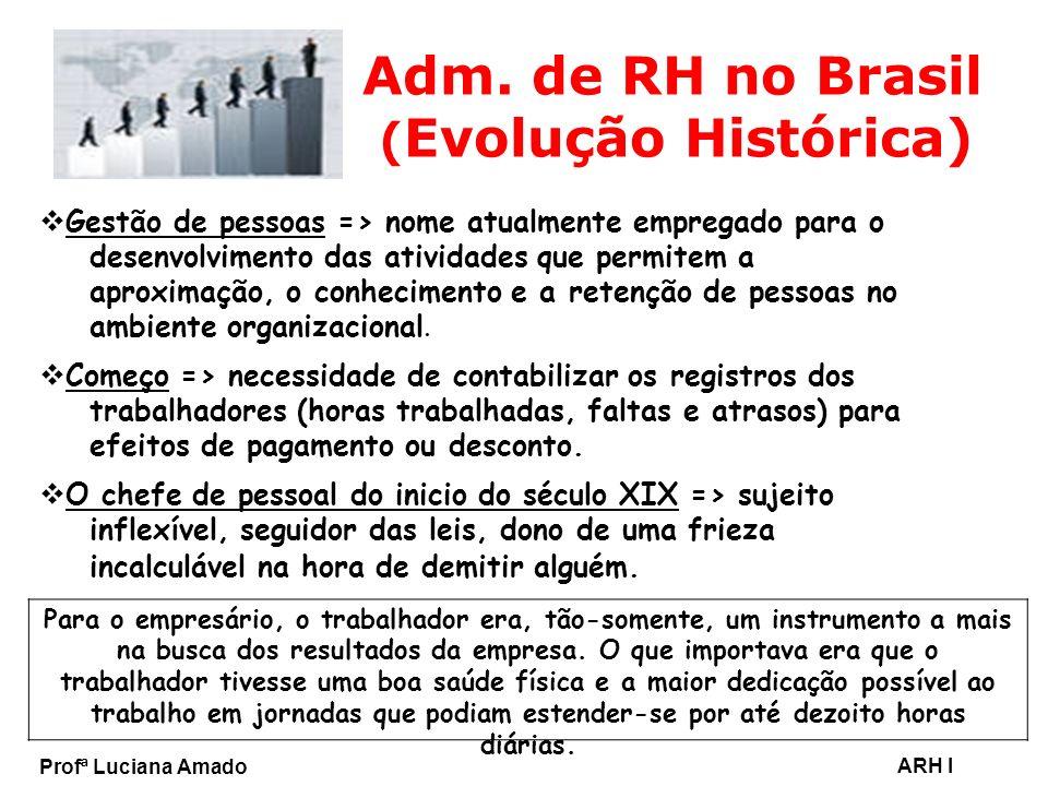 Profª Luciana Amado ARH I Adm. de RH no Brasil ( Evolução Histórica) Gestão de pessoas => nome atualmente empregado para o desenvolvimento das ativida