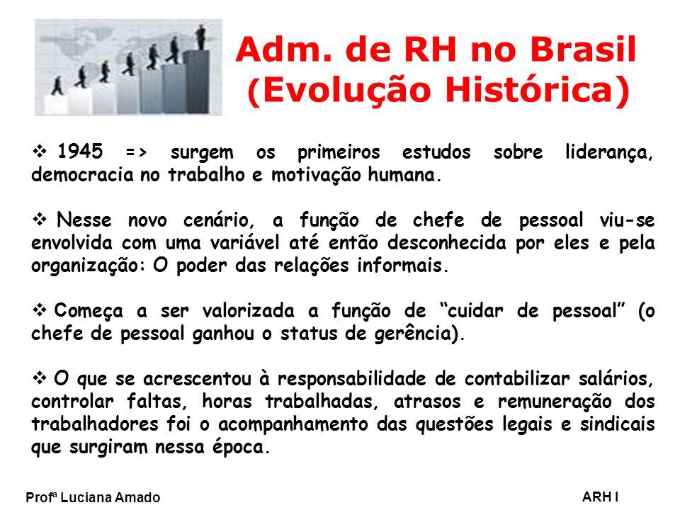Profª Luciana Amado ARH I Adm. de RH no Brasil ( Evolução Histórica) 1945 => surgem os primeiros estudos sobre liderança, democracia no trabalho e mot