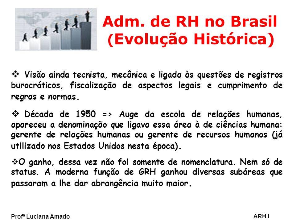 Profª Luciana Amado ARH I Adm. de RH no Brasil ( Evolução Histórica) Visão ainda tecnista, mecânica e ligada às questões de registros burocráticos, fi
