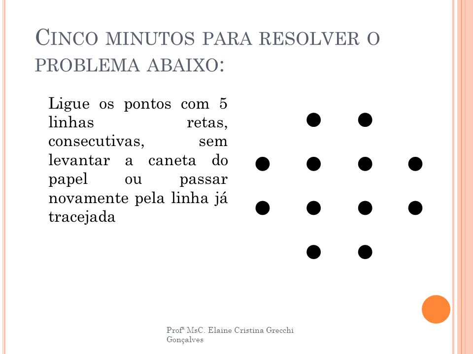 C INCO MINUTOS PARA RESOLVER O PROBLEMA ABAIXO : Ligue os pontos com 5 linhas retas, consecutivas, sem levantar a caneta do papel ou passar novamente