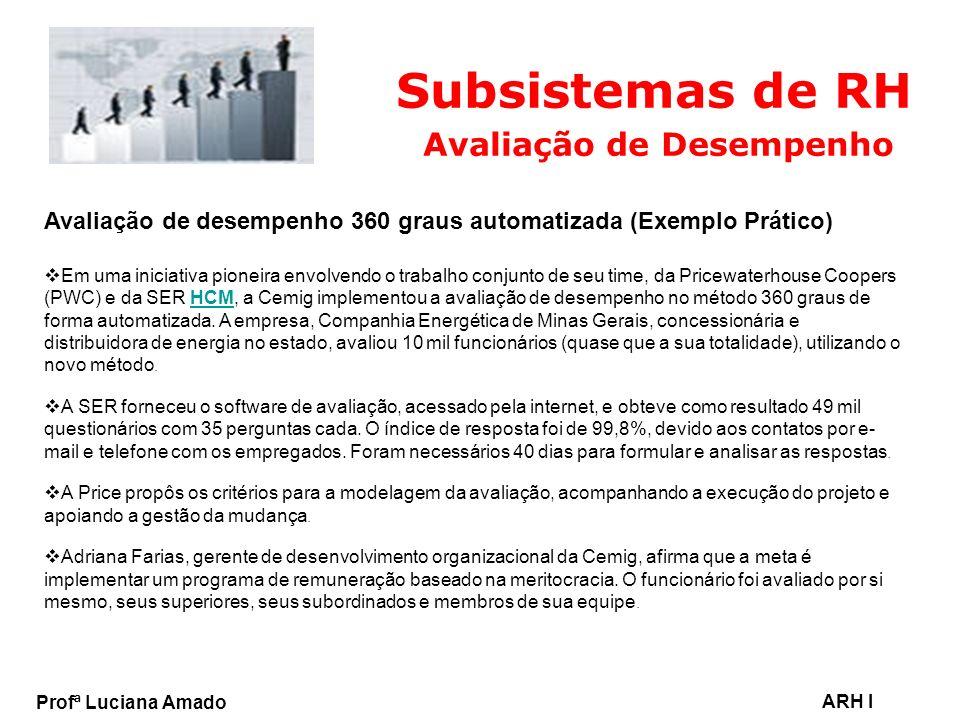 Profª Luciana Amado ARH I Subsistemas de RH Avaliação de Desempenho Avaliação de desempenho 360 graus automatizada (Exemplo Prático) Em uma iniciativa