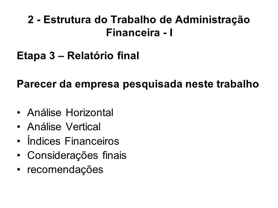 2 - Estrutura do Trabalho de Administração Financeira - I Etapa 3 – Relatório final Parecer da empresa pesquisada neste trabalho Análise Horizontal An
