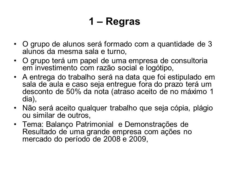 1 – Regras O grupo de alunos será formado com a quantidade de 3 alunos da mesma sala e turno, O grupo terá um papel de uma empresa de consultoria em i