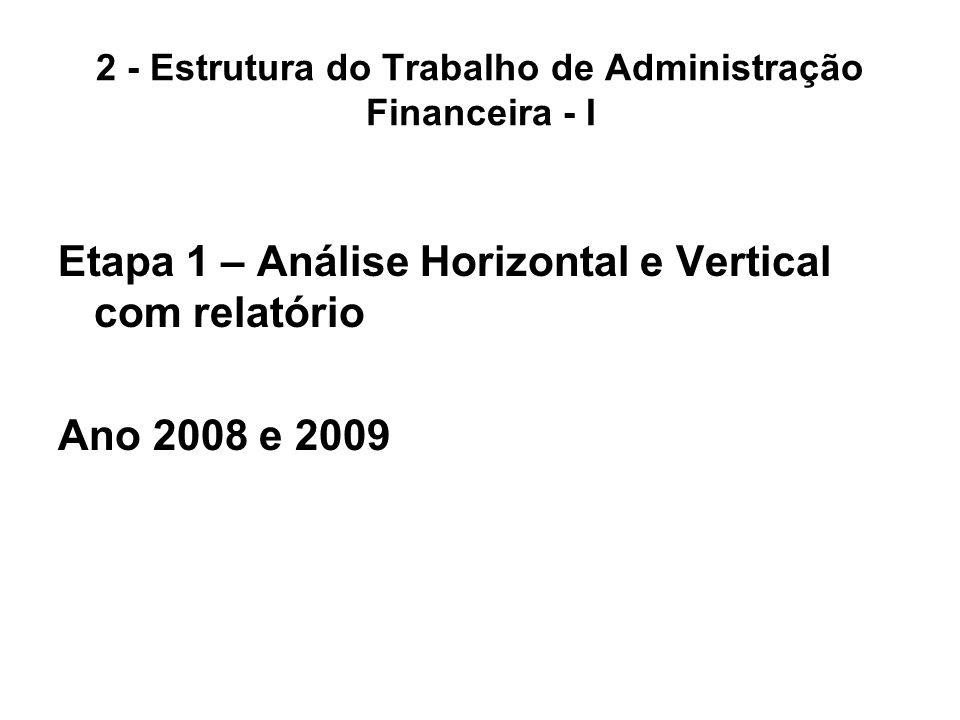2 - Estrutura do Trabalho de Administração Financeira - I Etapa 1 – Análise Horizontal e Vertical com relatório Ano 2008 e 2009