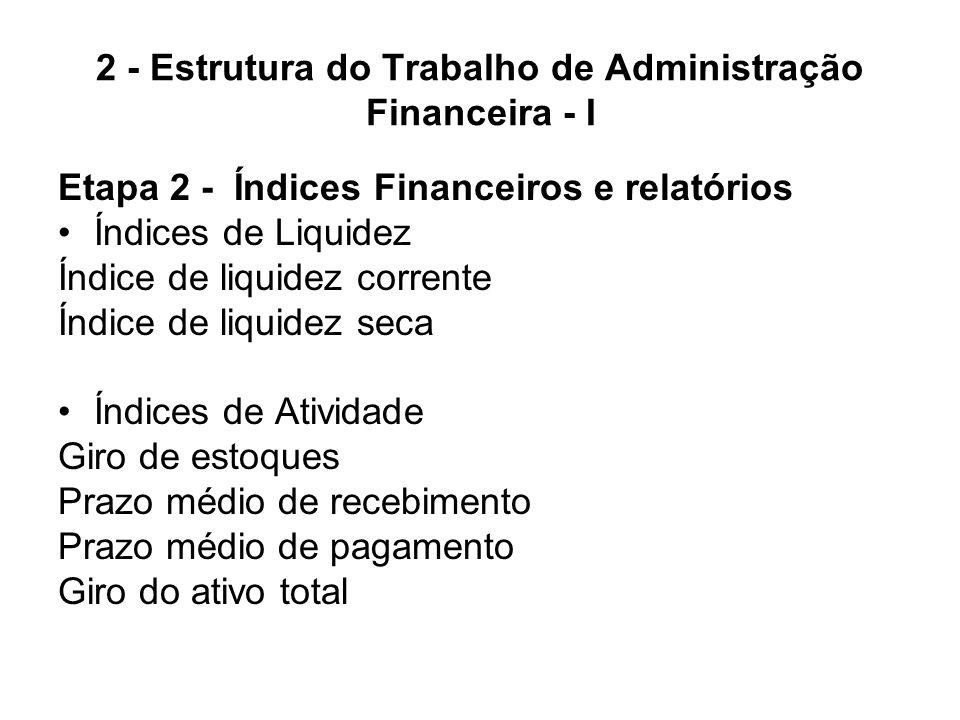2 - Estrutura do Trabalho de Administração Financeira - I Etapa 2 - Índices Financeiros e relatórios Índices de endividamento Índice de endividamento geral Índice de cobertura de juros Índice de cobertura de pagamentos fixos