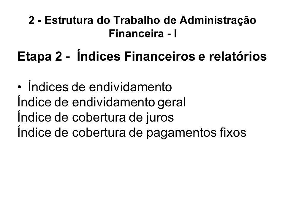 2 - Estrutura do Trabalho de Administração Financeira - I Etapa 2 - Índices Financeiros e relatórios Índices de endividamento Índice de endividamento