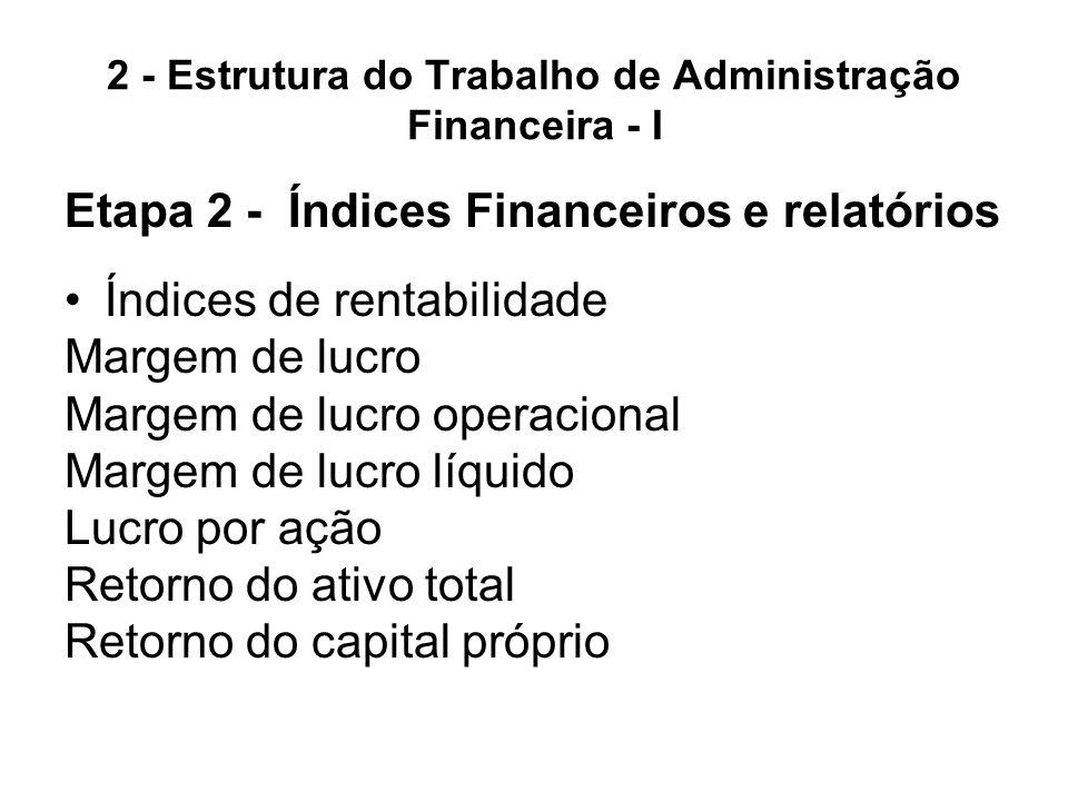 2 - Estrutura do Trabalho de Administração Financeira - I Etapa 2 - Índices Financeiros e relatórios Índices de valor de mercado Índice preço e lucro Índice preço e valor patrimonial Índices de endividamento Endividamento geral Cobertura de juros Cobertura de pagamentos fixos