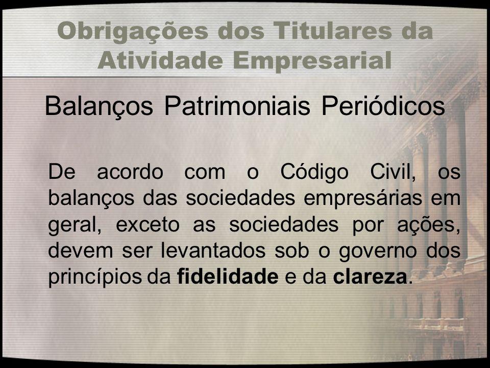 Obrigações dos Titulares da Atividade Empresarial Balanços Patrimoniais Periódicos De acordo com o Código Civil, os balanços das sociedades empresária