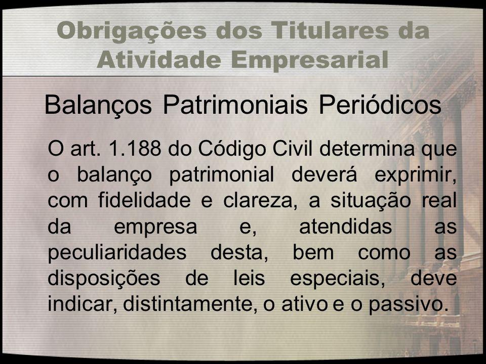 Obrigações dos Titulares da Atividade Empresarial Balanços Patrimoniais Periódicos O art. 1.188 do Código Civil determina que o balanço patrimonial de