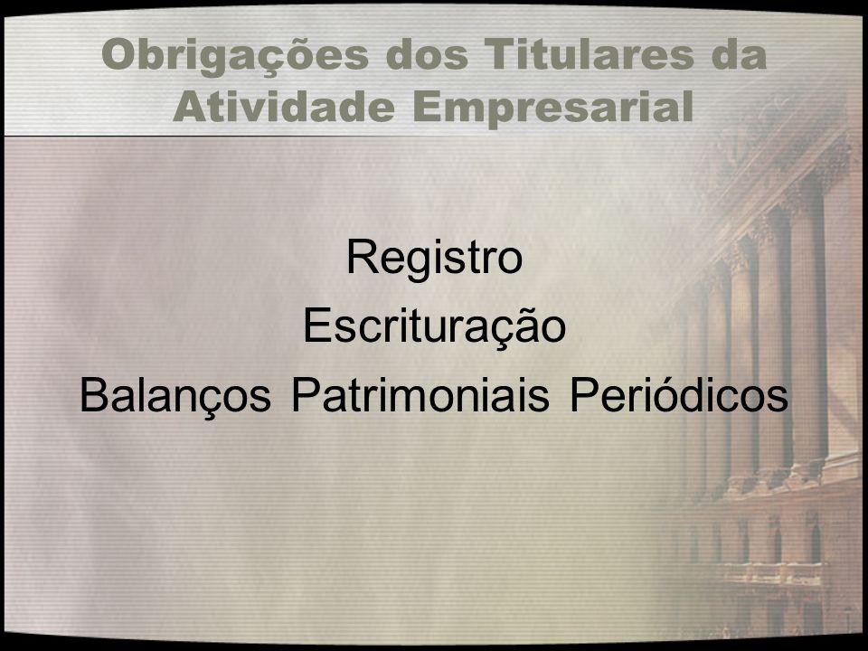 Obrigações dos Titulares da Atividade Empresarial Registro Escrituração Balanços Patrimoniais Periódicos