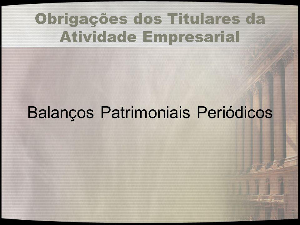 Obrigações dos Titulares da Atividade Empresarial Balanços Patrimoniais Periódicos