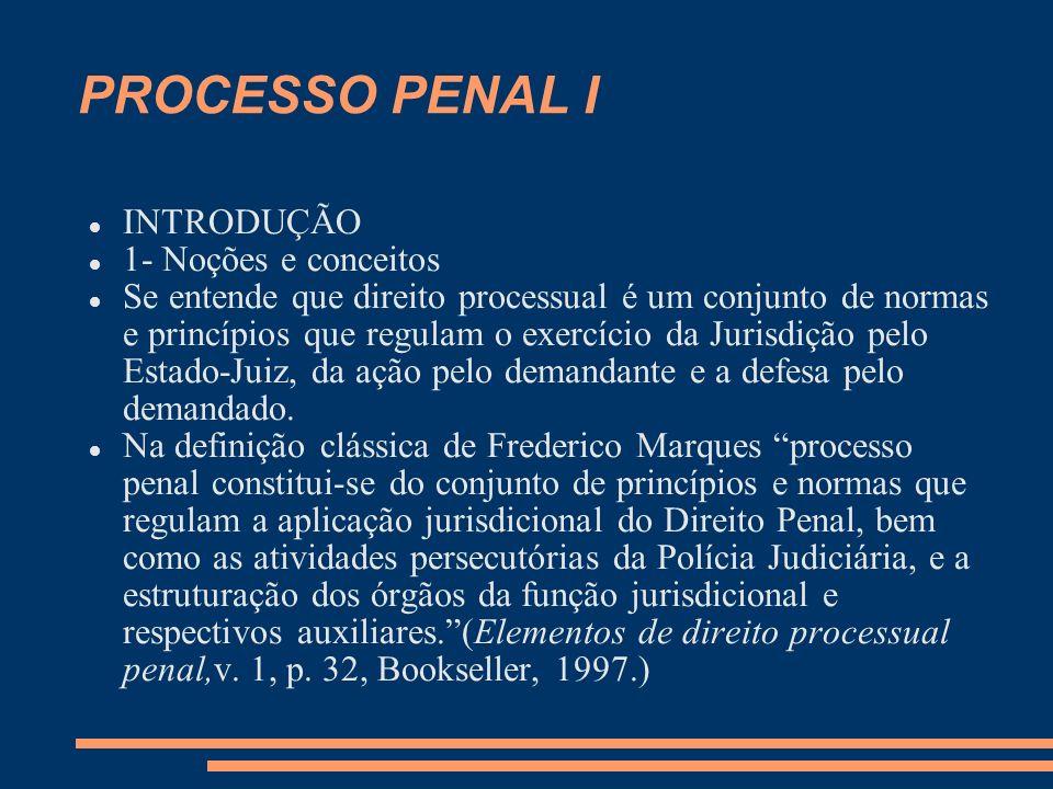 PROCESSO PENAL I INTRODUÇÃO 1- Noções e conceitos Se entende que direito processual é um conjunto de normas e princípios que regulam o exercício da Jurisdição pelo Estado-Juiz, da ação pelo demandante e a defesa pelo demandado.