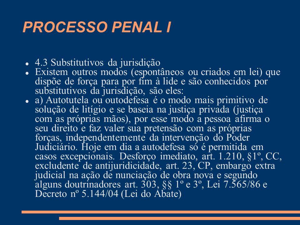 PROCESSO PENAL I 4.3 Substitutivos da jurisdição Existem outros modos (espontâneos ou criados em lei) que dispõe de força para por fim à lide e são co