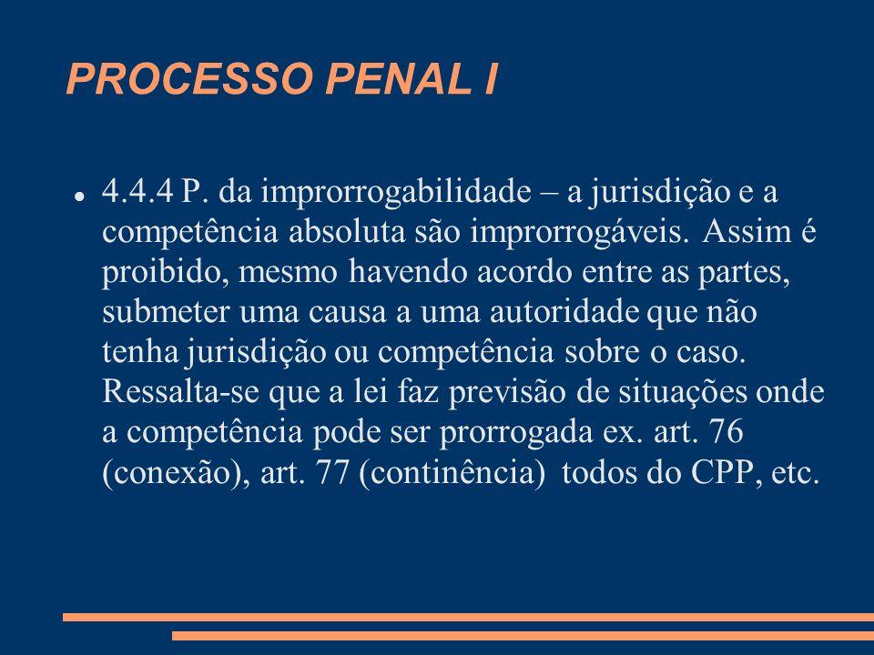 PROCESSO PENAL I 4.4.4 P. da improrrogabilidade – a jurisdição e a competência absoluta são improrrogáveis. Assim é proibido, mesmo havendo acordo ent