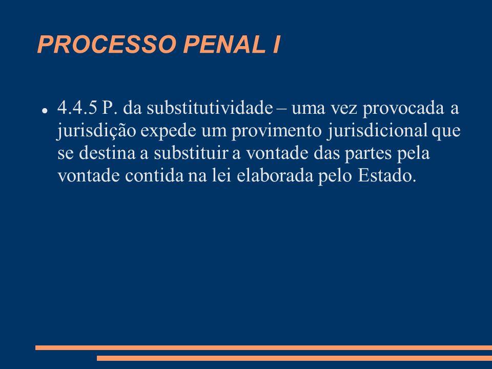 PROCESSO PENAL I 4.4.5 P. da substitutividade – uma vez provocada a jurisdição expede um provimento jurisdicional que se destina a substituir a vontad