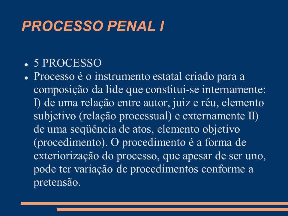 PROCESSO PENAL I 5 PROCESSO Processo é o instrumento estatal criado para a composição da lide que constitui-se internamente: I) de uma relação entre autor, juiz e réu, elemento subjetivo (relação processual) e externamente II) de uma seqüência de atos, elemento objetivo (procedimento).
