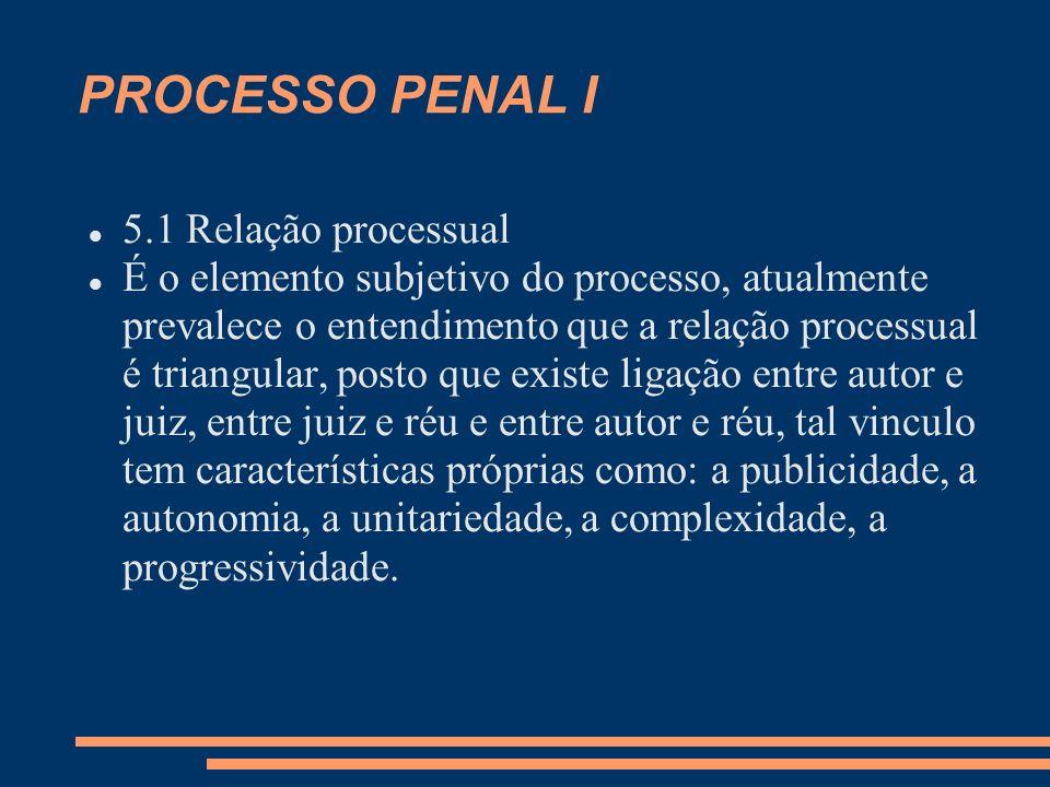 PROCESSO PENAL I 5.1 Relação processual É o elemento subjetivo do processo, atualmente prevalece o entendimento que a relação processual é triangular,