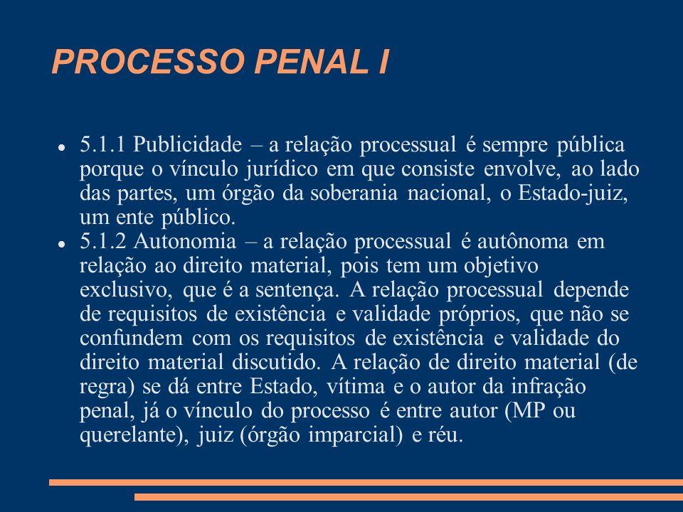 PROCESSO PENAL I 5.1.1 Publicidade – a relação processual é sempre pública porque o vínculo jurídico em que consiste envolve, ao lado das partes, um órgão da soberania nacional, o Estado-juiz, um ente público.