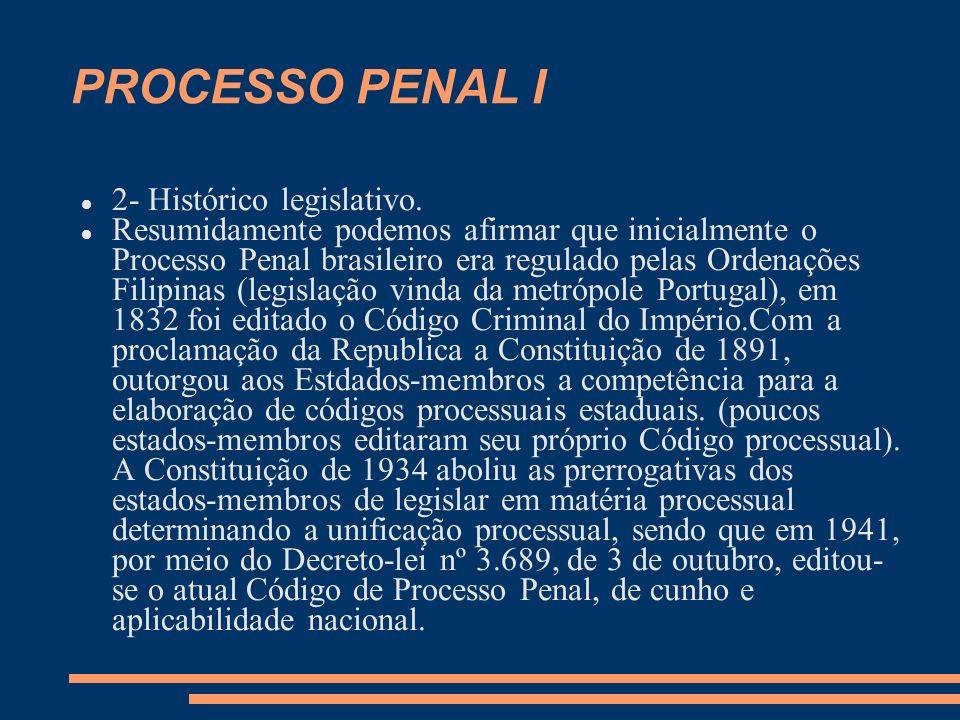 PROCESSO PENAL I 2- Histórico legislativo. Resumidamente podemos afirmar que inicialmente o Processo Penal brasileiro era regulado pelas Ordenações Fi