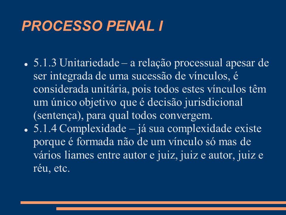 PROCESSO PENAL I 5.1.3 Unitariedade – a relação processual apesar de ser integrada de uma sucessão de vínculos, é considerada unitária, pois todos estes vínculos têm um único objetivo que é decisão jurisdicional (sentença), para qual todos convergem.