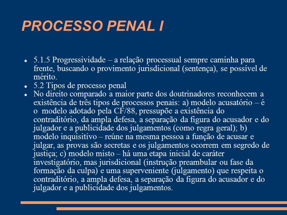 PROCESSO PENAL I 5.1.5 Progressividade – a relação processual sempre caminha para frente, buscando o provimento jurisdicional (sentença), se possível de mérito.