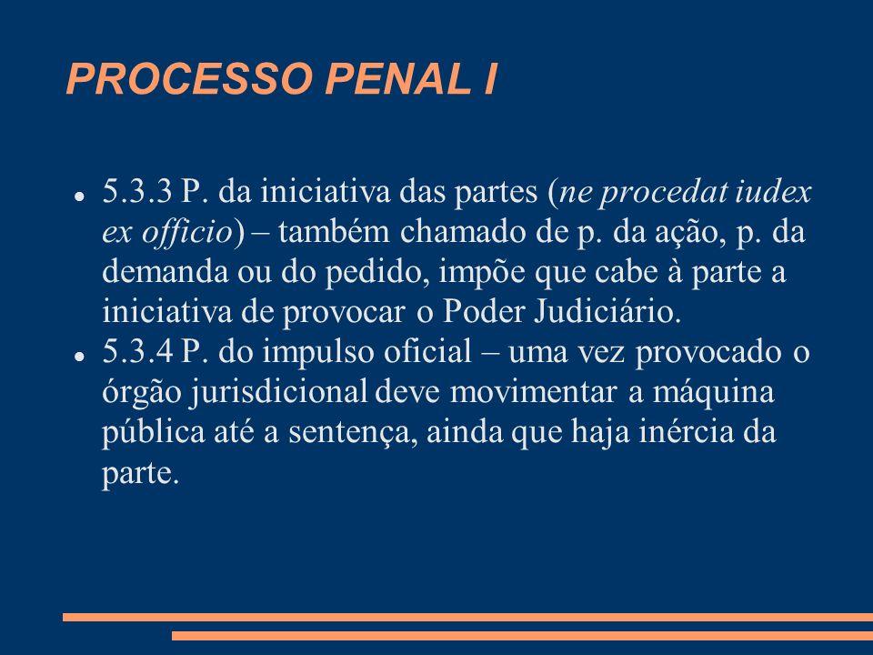 PROCESSO PENAL I 5.3.3 P. da iniciativa das partes (ne procedat iudex ex officio) – também chamado de p. da ação, p. da demanda ou do pedido, impõe qu