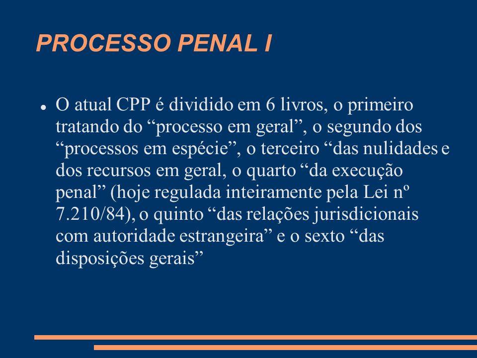 PROCESSO PENAL I O atual CPP é dividido em 6 livros, o primeiro tratando do processo em geral, o segundo dos processos em espécie, o terceiro das nuli