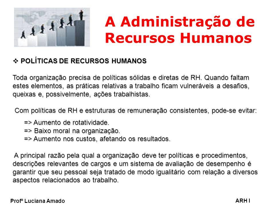 Profª Luciana Amado ARH I A Administração de Recursos Humanos POLÍTICAS DE RECURSOS HUMANOS POLÍTICAS DE RECURSOS HUMANOS Toda organização precisa de