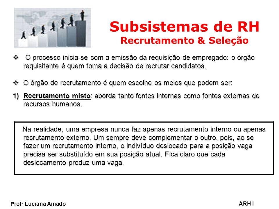 Profª Luciana Amado ARH I Subsistemas de RH Recrutamento & Seleção O processo inicia-se com a emissão da requisição de empregado: o órgão requisitante